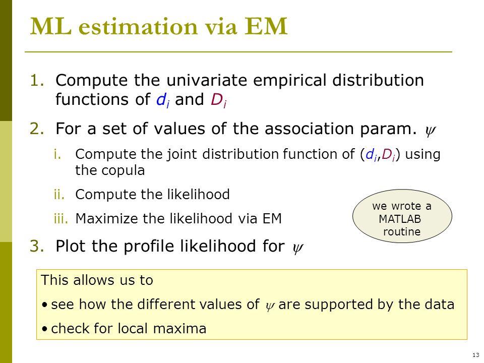 13 ML estimation via EM 1.Compute the univariate empirical distribution functions of d i and D i 2.For a set of values of the association param.