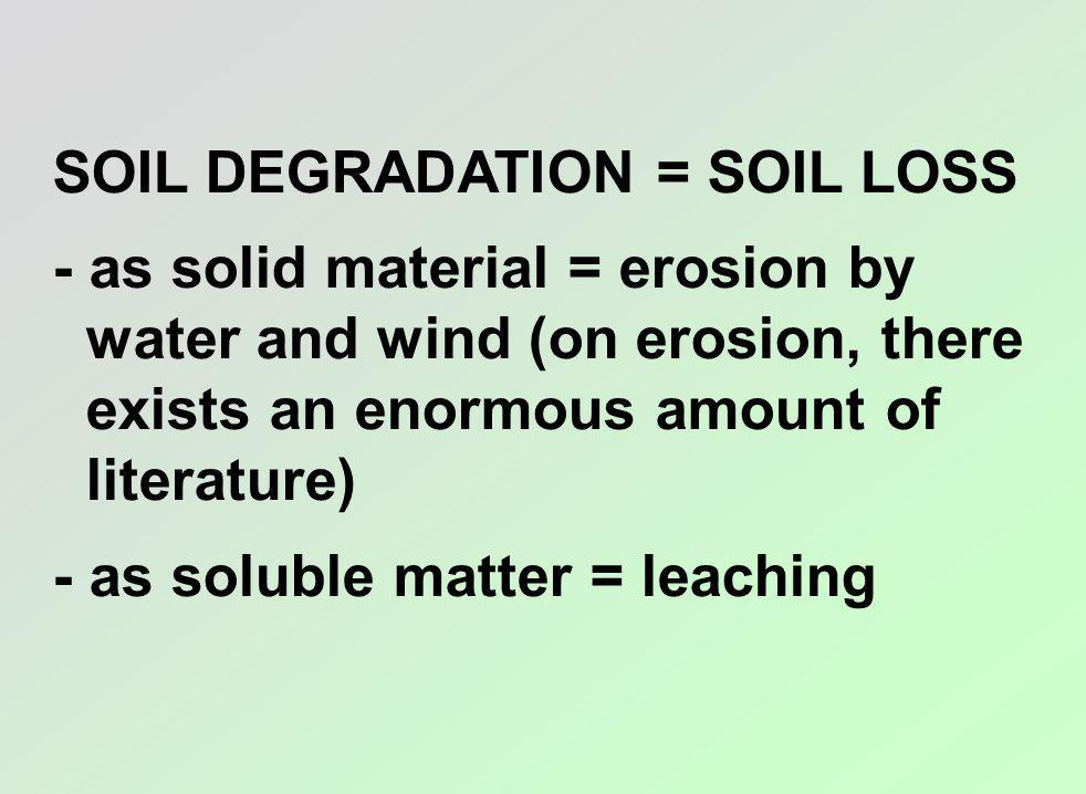 SOIL DEGRADATION = SOIL LOSS - as solid material = erosion by water and wind (on erosion, there exists an enormous amount of literature) - as soluble matter = leaching