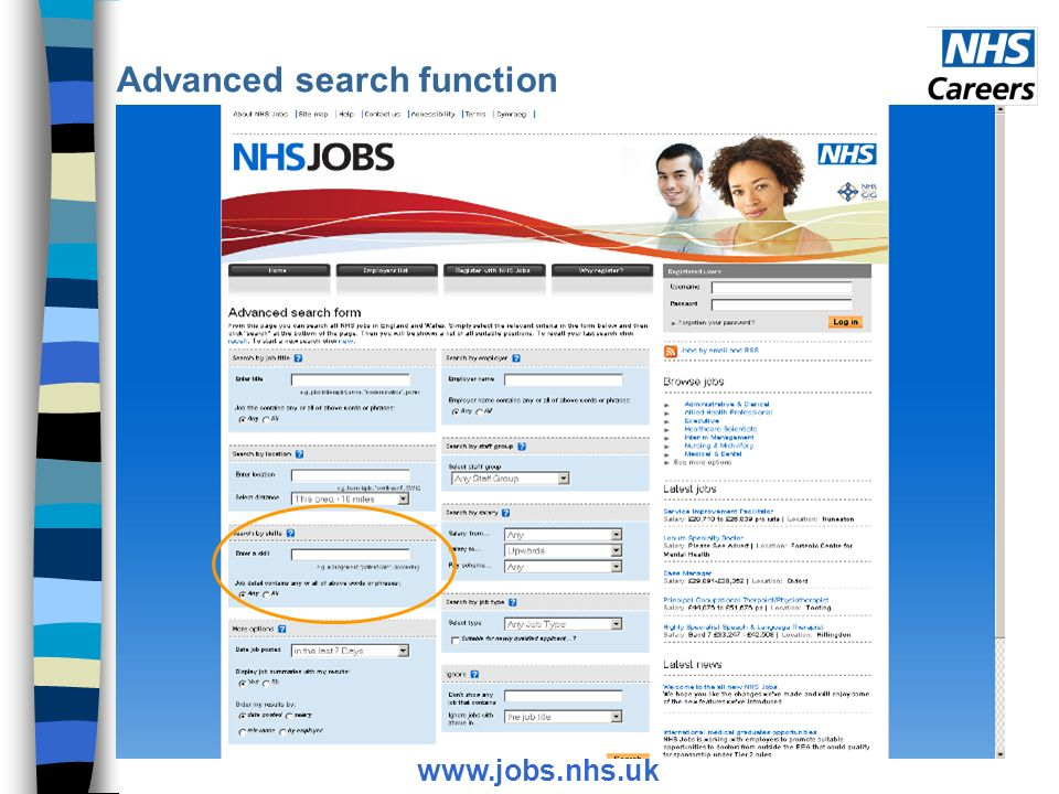 Advanced search function www.jobs.nhs.uk