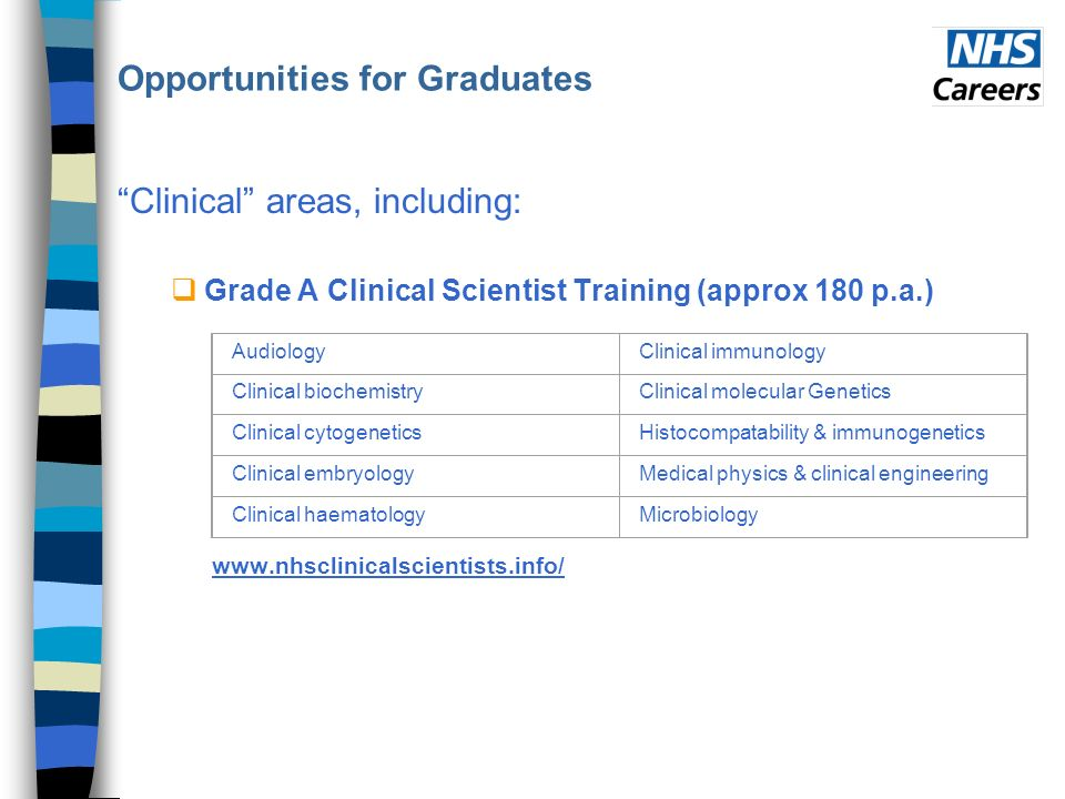 Opportunities for Graduates Clinical areas, including: Grade A Clinical Scientist Training (approx 180 p.a.) www.nhsclinicalscientists.info/ AudiologyClinical immunology Clinical biochemistryClinical molecular Genetics Clinical cytogeneticsHistocompatability & immunogenetics Clinical embryologyMedical physics & clinical engineering Clinical haematologyMicrobiology