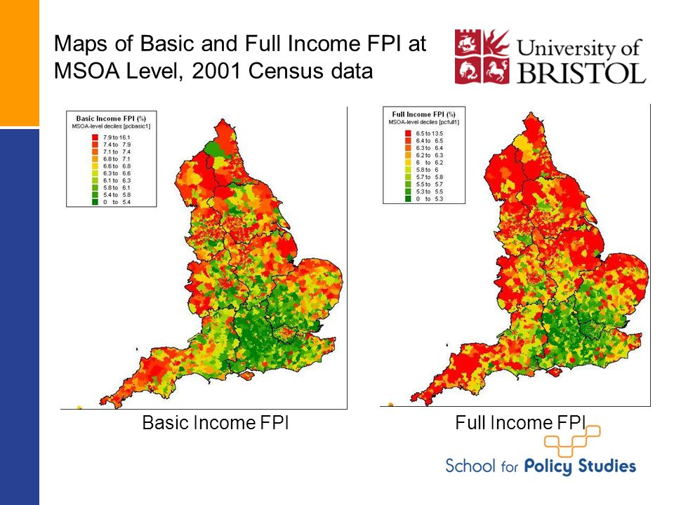 Maps of Basic and Full Income FPI at MSOA Level, 2001 Census data Basic Income FPIFull Income FPI