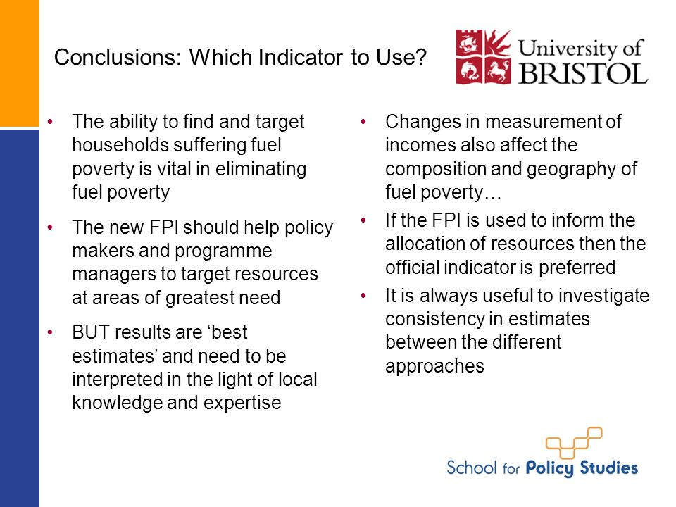 Conclusions: Which Indicator to Use.