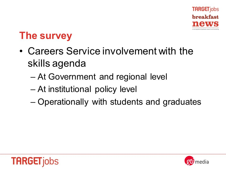 The survey Careers Service involvement with the skills agenda –At Government and regional level –At institutional policy level –Operationally with students and graduates