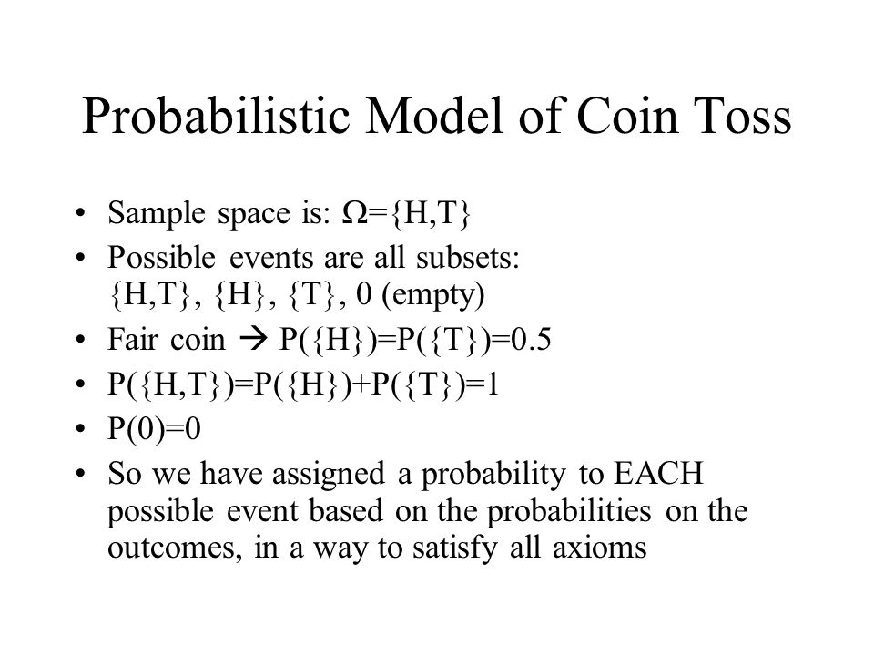 Probabilistic Model of Coin Toss Sample space is: ={H,T} Possible events are all subsets: {H,T}, {H}, {T}, 0 (empty) Fair coin P({H})=P({T})=0.5 P({H,