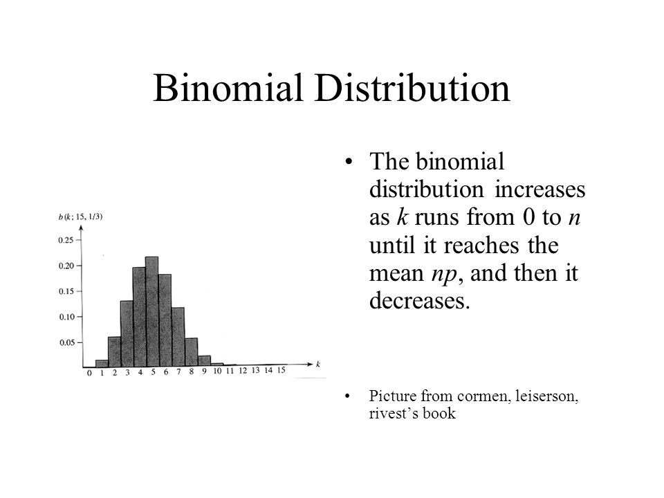 Binomial Distribution The binomial distribution increases as k runs from 0 to n until it reaches the mean np, and then it decreases. Picture from corm