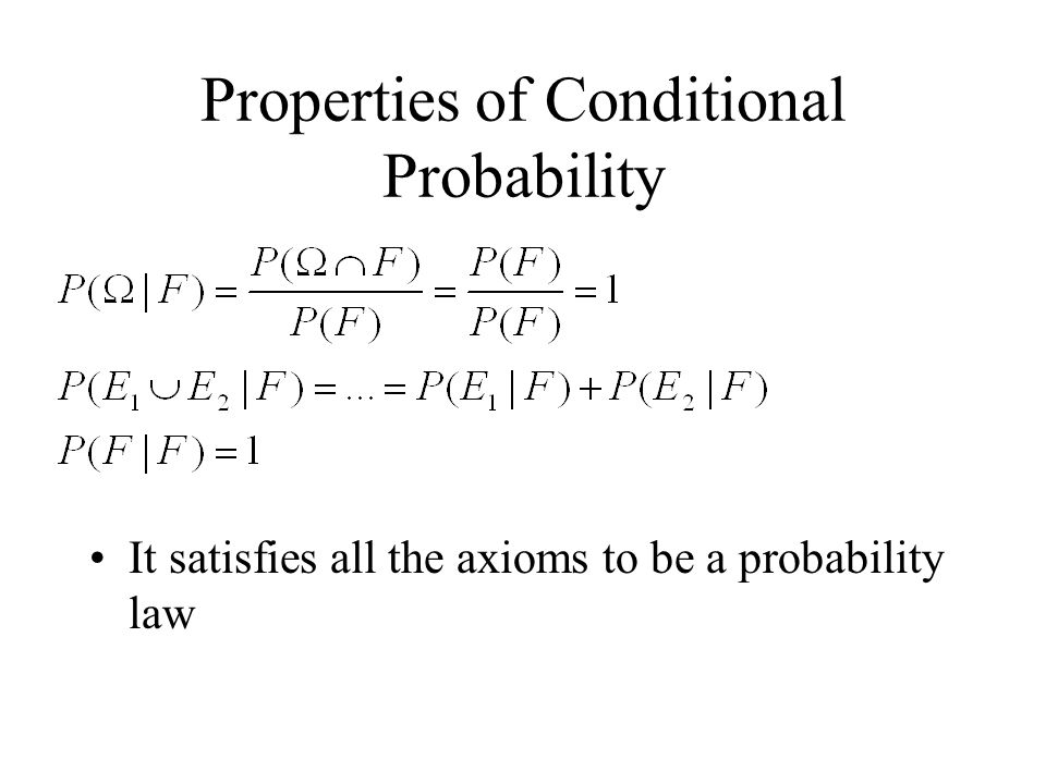 Properties of Conditional Probability It satisfies all the axioms to be a probability law