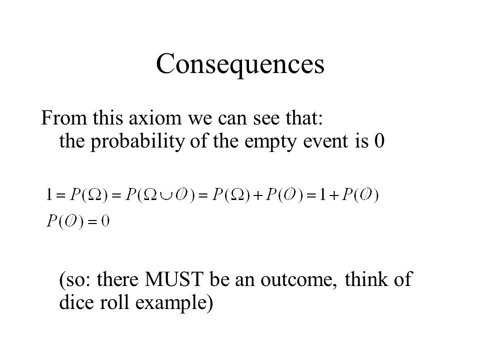 Consequences From this axiom we can see that: the probability of the empty event is 0 (so: there MUST be an outcome, think of dice roll example)