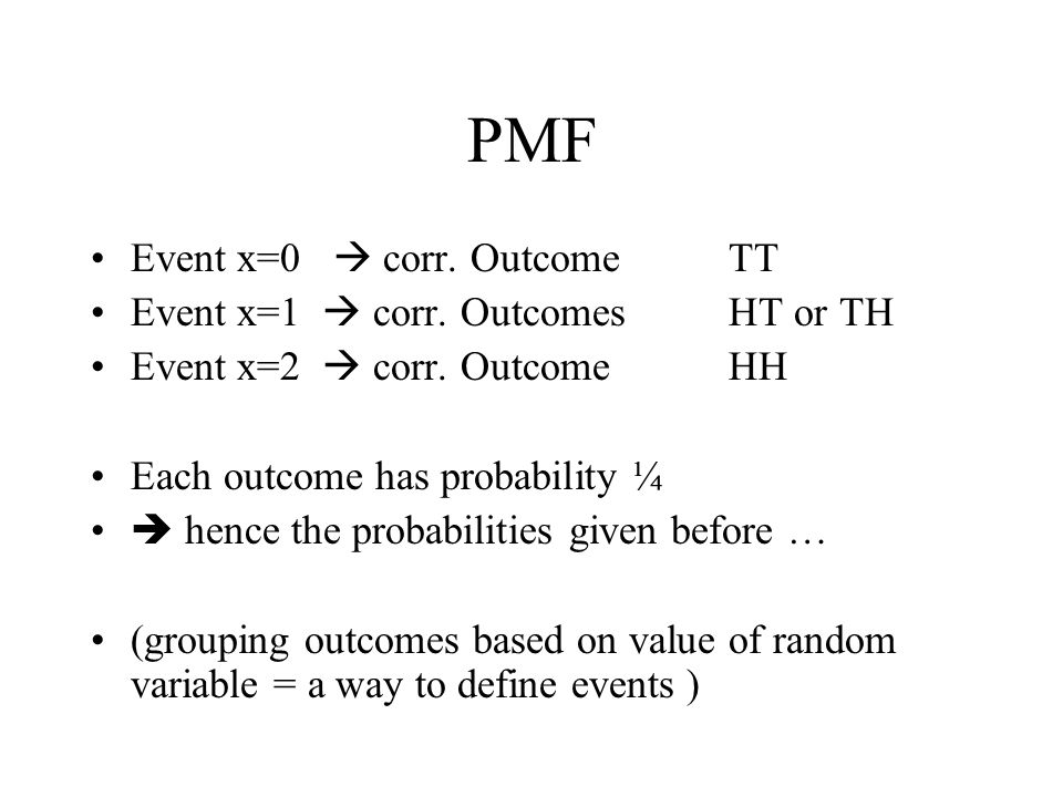 PMF Event x=0 corr. Outcome TT Event x=1 corr. Outcomes HT or TH Event x=2 corr. Outcome HH Each outcome has probability ¼ hence the probabilities giv
