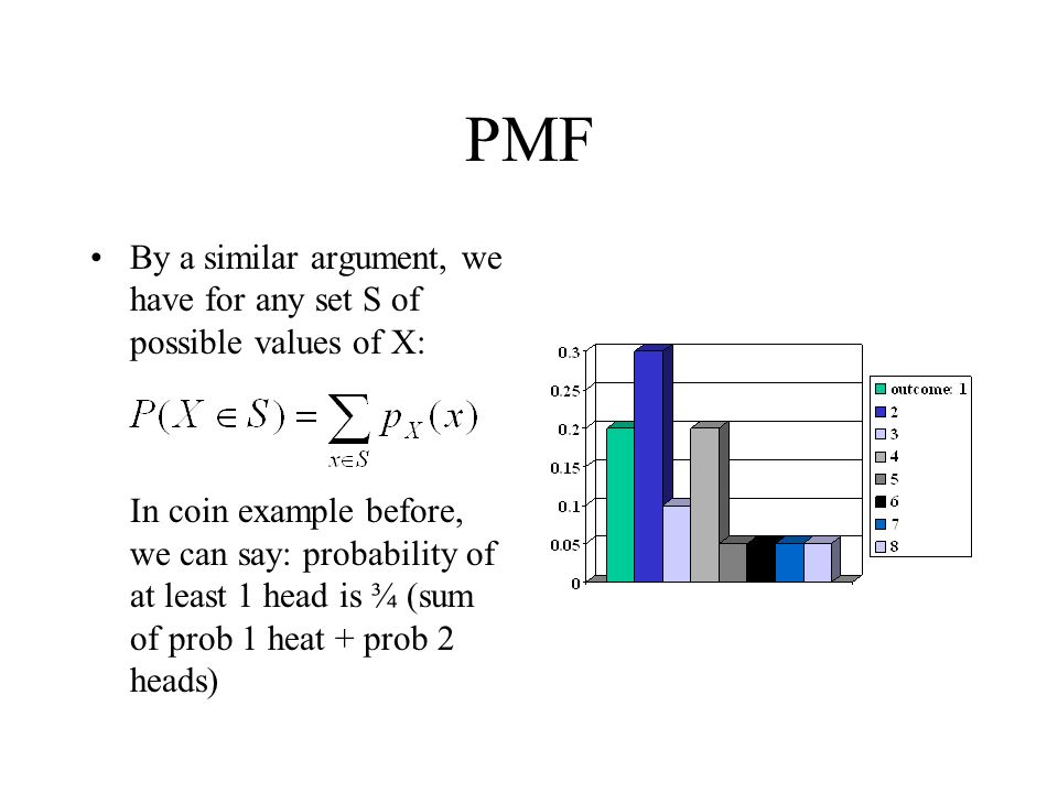 PMF By a similar argument, we have for any set S of possible values of X: In coin example before, we can say: probability of at least 1 head is ¾ (sum