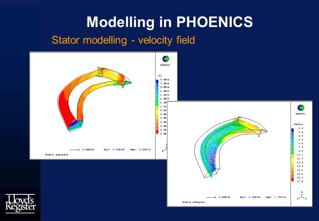Modelling in PHOENICS Stator modelling - velocity field