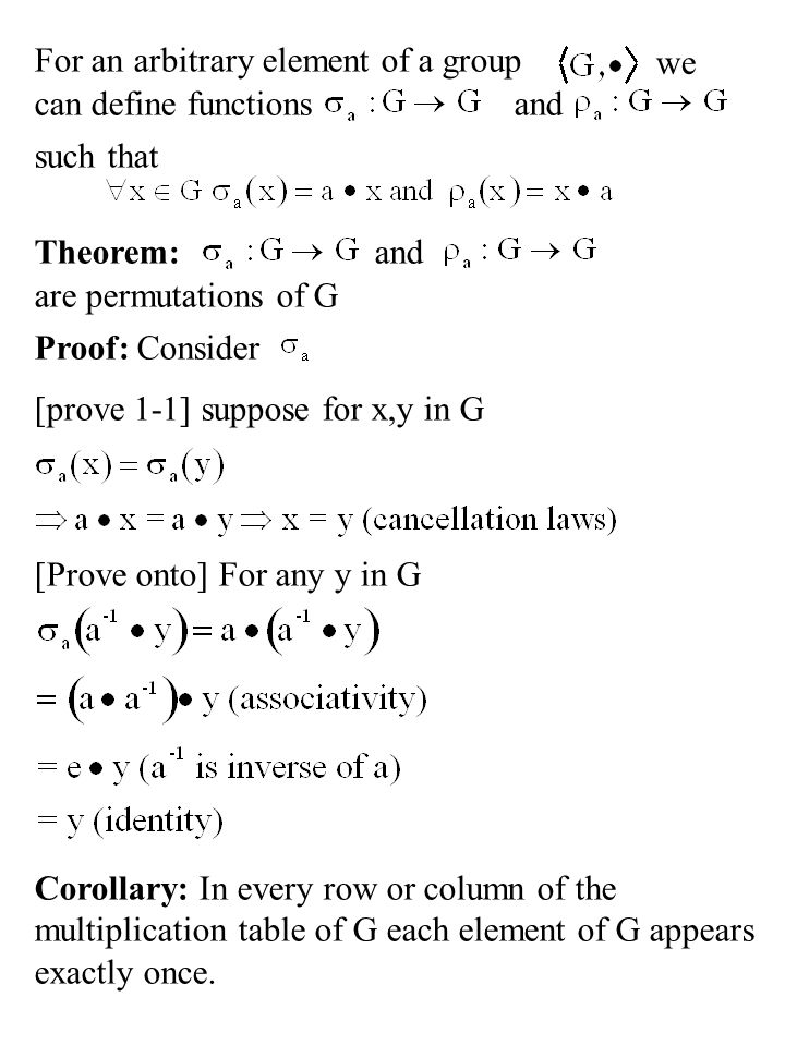 For an arbitrary element of a group we can define functionsand such that Theorem:and are permutations of G Proof: Consider [prove 1-1] suppose for x,y