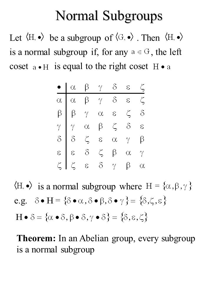 Normal Subgroups Letbe a subgroup of. Then is a normal subgroup if, for any, the left cosetis equal to the right coset is a normal subgroup where e.g.