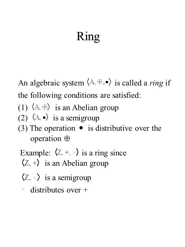 Ring An algebraic systemis called a ring if the following conditions are satisfied: (1)is an Abelian group (2)is a semigroup (3) The operationis distr