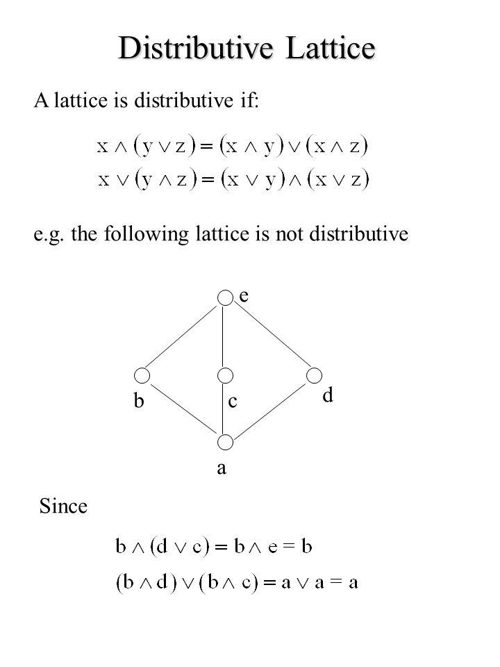 Distributive Lattice A lattice is distributive if: e.g. the following lattice is not distributive a bc d e Since