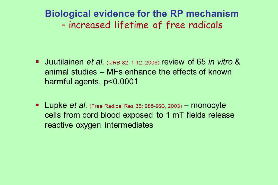 Biological evidence for the RP mechanism – increased lifetime of free radicals Juutilainen et al.