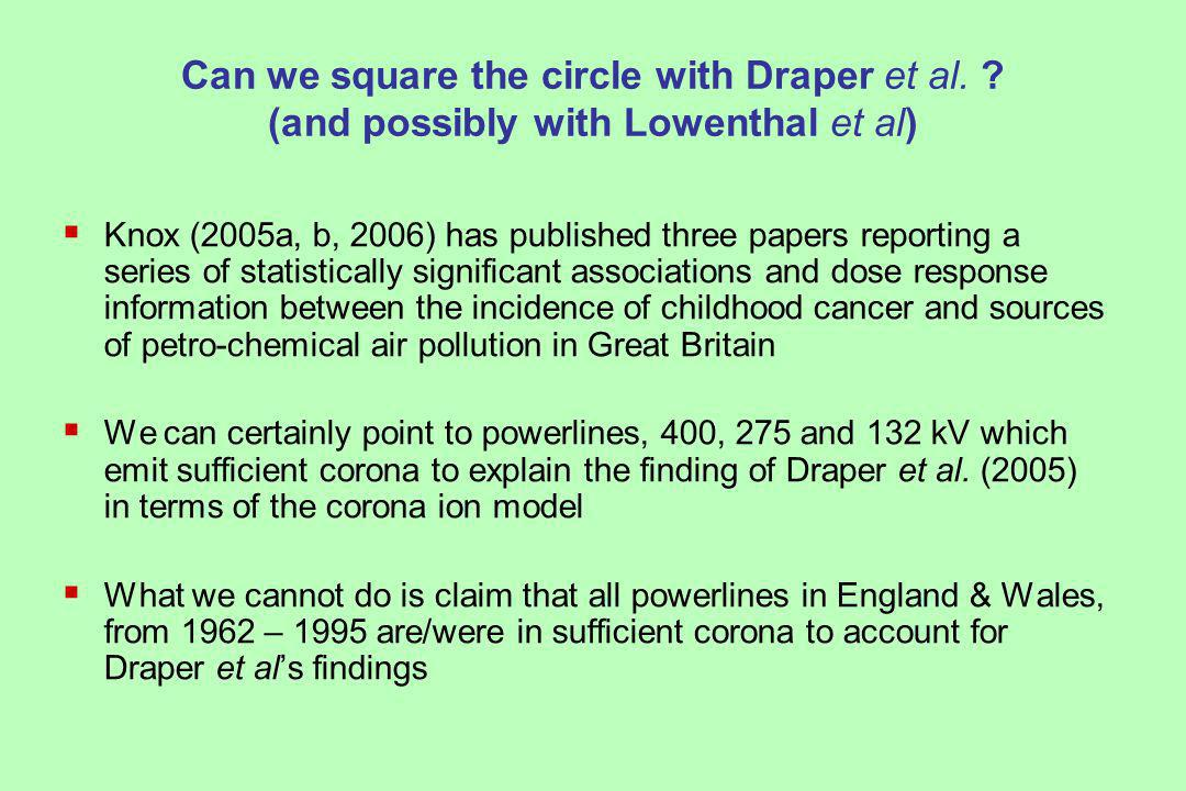 Can we square the circle with Draper et al.
