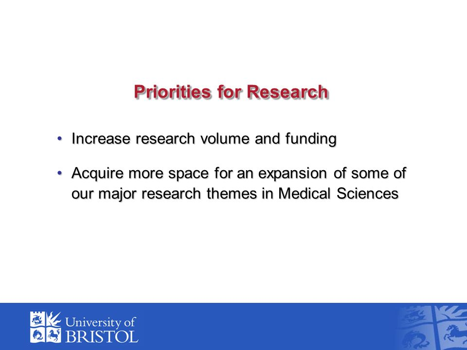 Priorities for Research Increase research volume and fundingIncrease research volume and funding Acquire more space for an expansion of some of our major research themes in Medical SciencesAcquire more space for an expansion of some of our major research themes in Medical Sciences