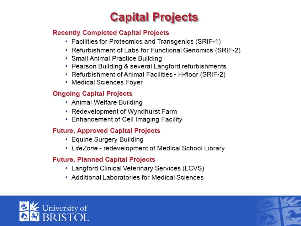 Capital Projects Recently Completed Capital Projects Facilities for Proteomics and Transgenics (SRIF-1)Facilities for Proteomics and Transgenics (SRIF