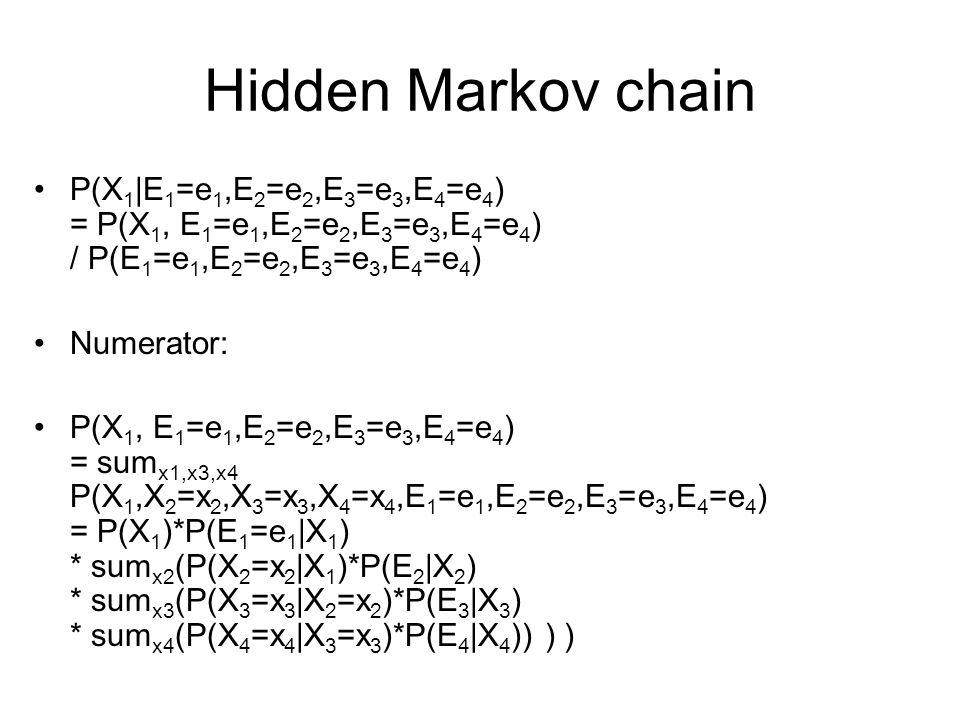 Hidden Markov chain P(X 1 |E 1 =e 1,E 2 =e 2,E 3 =e 3,E 4 =e 4 ) = P(X 1, E 1 =e 1,E 2 =e 2,E 3 =e 3,E 4 =e 4 ) / P(E 1 =e 1,E 2 =e 2,E 3 =e 3,E 4 =e 4 ) Numerator: P(X 1, E 1 =e 1,E 2 =e 2,E 3 =e 3,E 4 =e 4 ) = sum x1,x3,x4 P(X 1,X 2 =x 2,X 3 =x 3,X 4 =x 4,E 1 =e 1,E 2 =e 2,E 3 =e 3,E 4 =e 4 ) = P(X 1 )*P(E 1 =e 1 |X 1 ) * sum x2 (P(X 2 =x 2 |X 1 )*P(E 2 |X 2 ) * sum x3 (P(X 3 =x 3 |X 2 =x 2 )*P(E 3 |X 3 ) * sum x4 (P(X 4 =x 4 |X 3 =x 3 )*P(E 4 |X 4 )) ) )