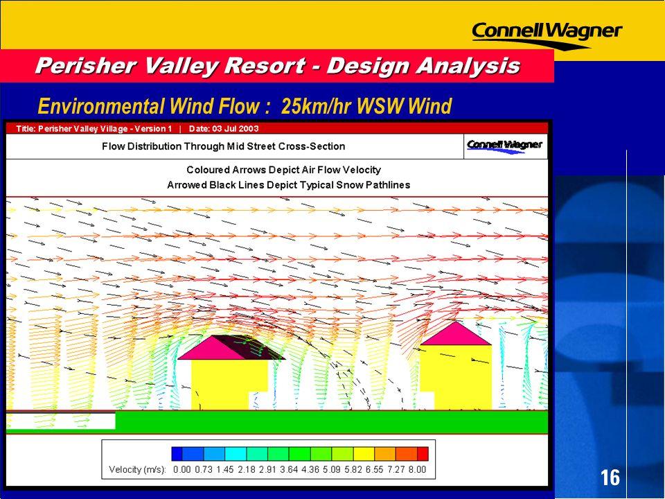 16 Environmental Wind Flow : 25km/hr WSW Wind Perisher Valley Resort - Design Analysis