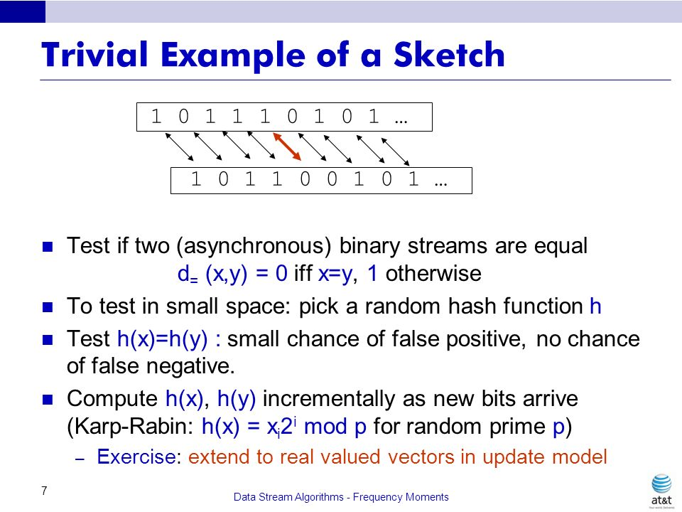 Data Stream Algorithms - Frequency Moments 7 Trivial Example of a Sketch Test if two (asynchronous) binary streams are equal d = (x,y) = 0 iff x=y, 1