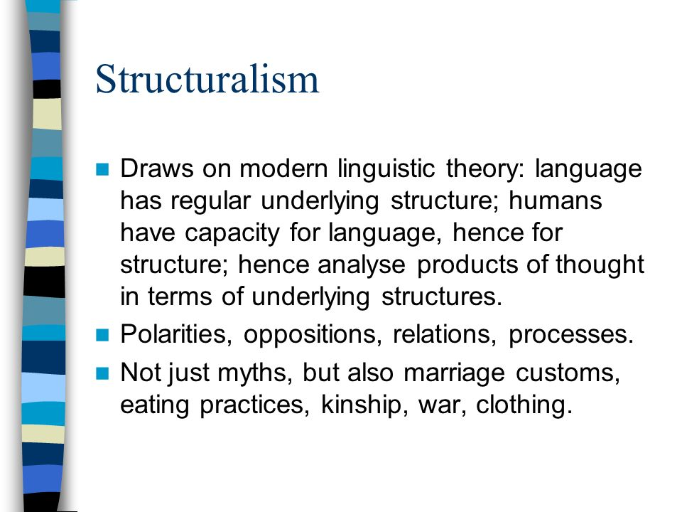 Structuralism Draws on modern linguistic theory: language has regular underlying structure; humans have capacity for language, hence for structure; hence analyse products of thought in terms of underlying structures.