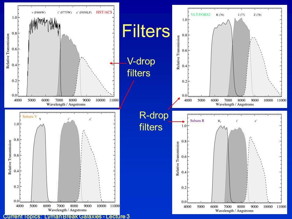 Current Topics: Lyman Break Galaxies - Lecture 3 Filters V-drop filters R-drop filters