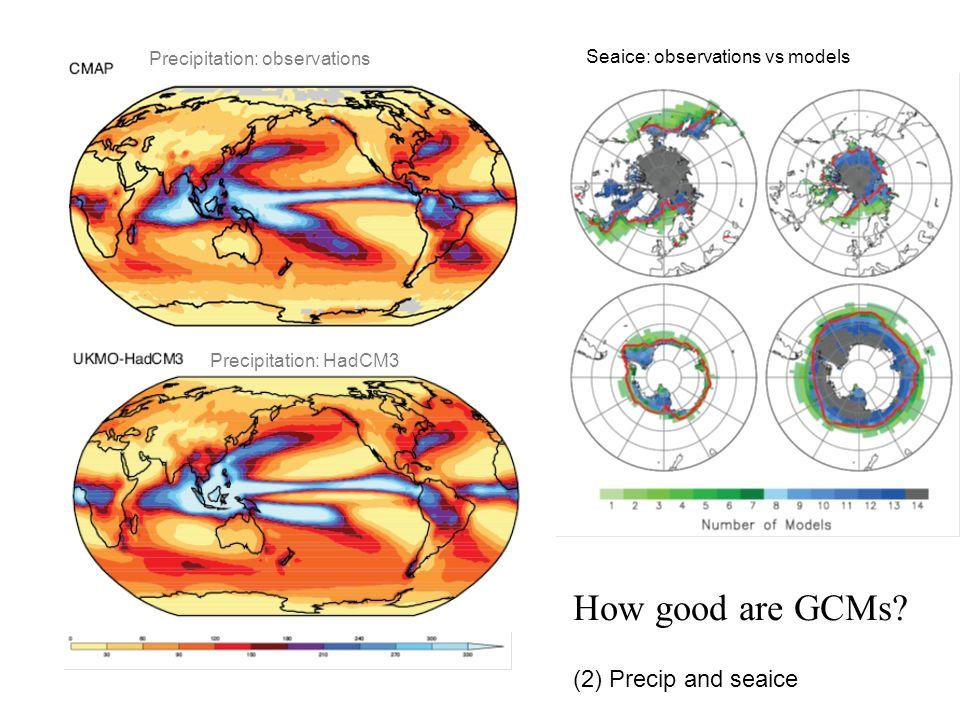 Precipitation: observations Precipitation: HadCM3 Seaice: observations vs models How good are GCMs? (2) Precip and seaice