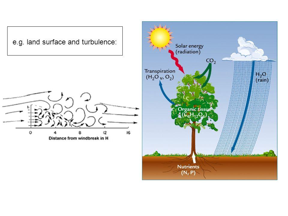 e.g. land surface and turbulence: