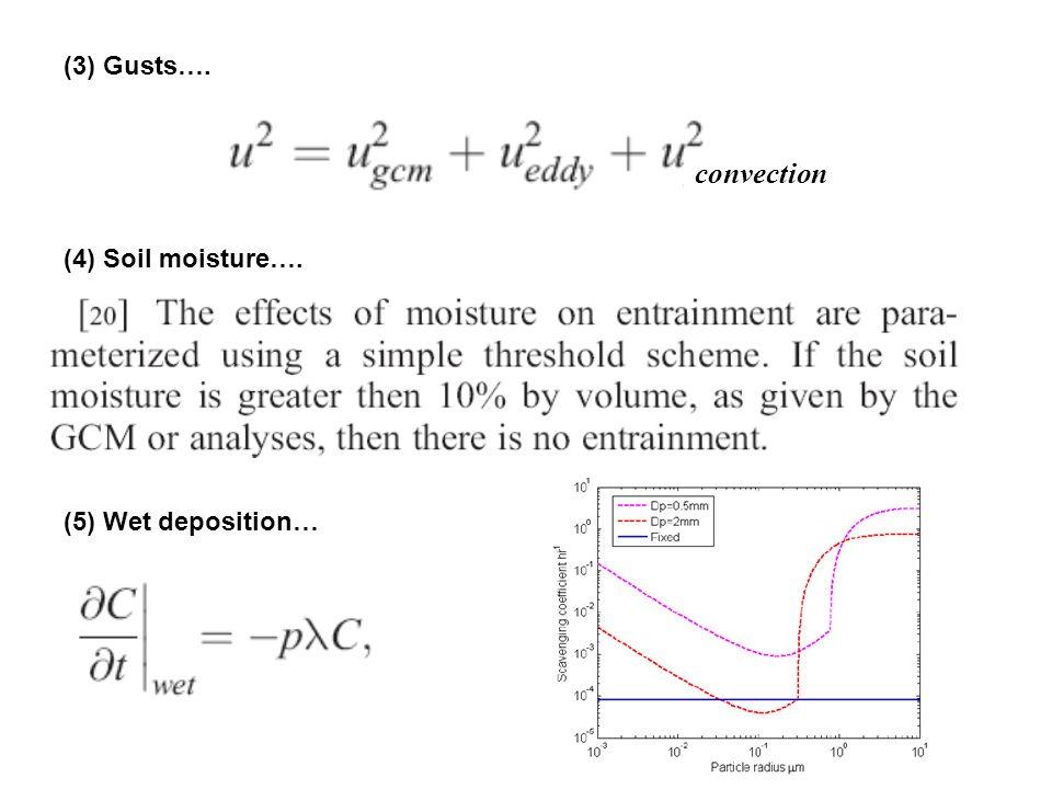 (3) Gusts…. convection (4) Soil moisture…. (5) Wet deposition…