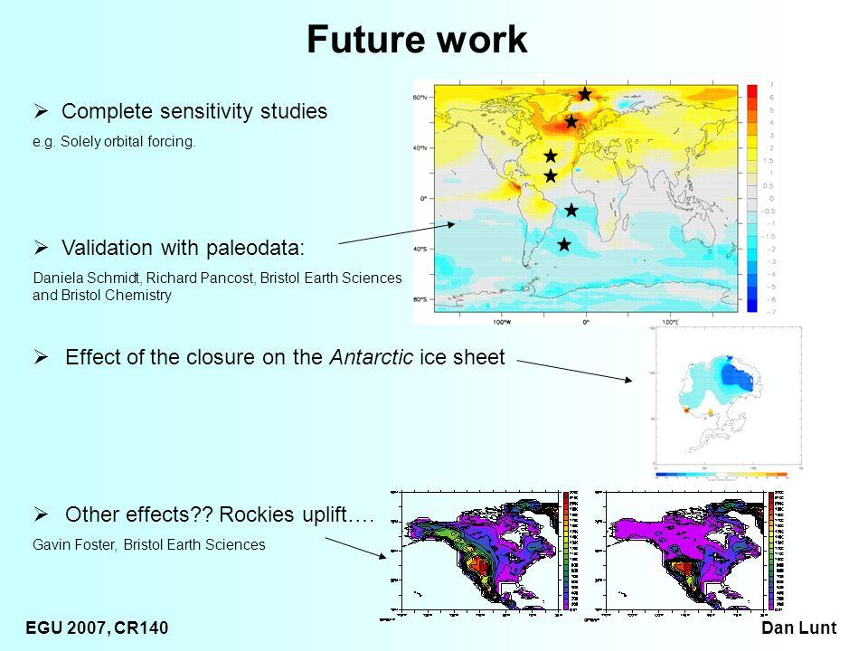 EGU 2007, CR140 Dan Lunt Future work Validation with paleodata: Daniela Schmidt, Richard Pancost, Bristol Earth Sciences and Bristol Chemistry Other effects .