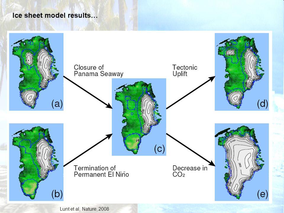 Ice sheet model results… Lunt et al, Nature, 2008