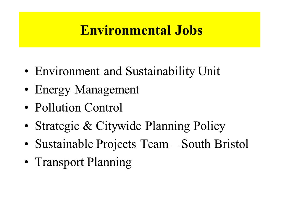 Environmental Jobs Environment and Sustainability Unit Energy Management Pollution Control Strategic & Citywide Planning Policy Sustainable Projects Team – South Bristol Transport Planning