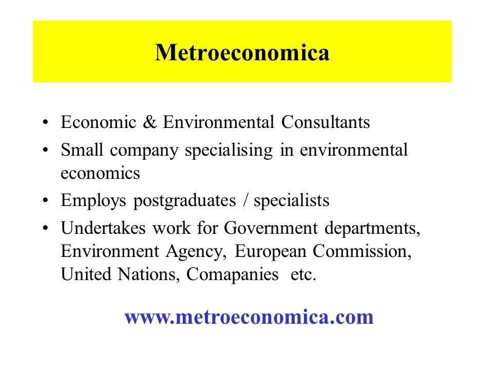 Metroeconomica Economic & Environmental Consultants Small company specialising in environmental economics Employs postgraduates / specialists Undertakes work for Government departments, Environment Agency, European Commission, United Nations, Comapanies etc.