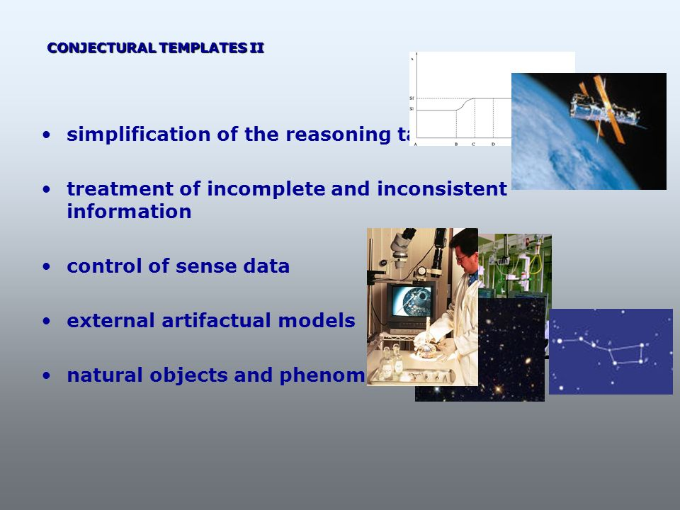 simplification of the reasoning task treatment of incomplete and inconsistent information control of sense data external artifactual models natural ob
