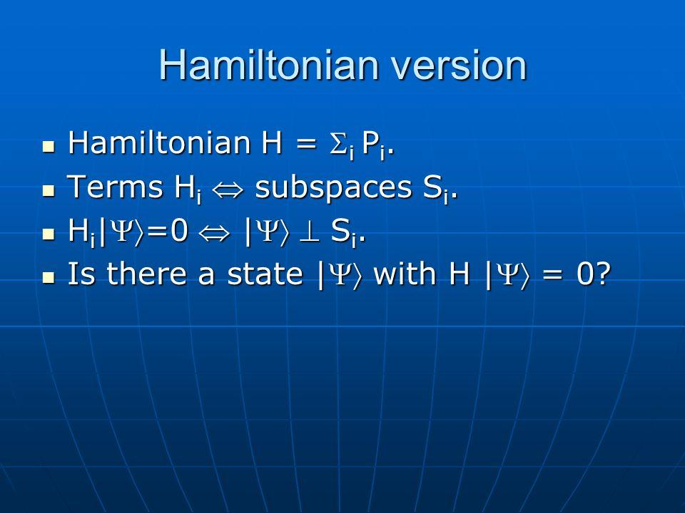 Hamiltonian version Hamiltonian H = i P i. Hamiltonian H = i P i.