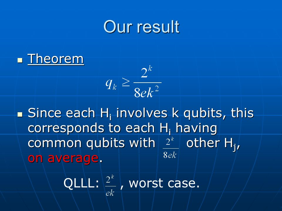 Our result Theorem Theorem Since each H i involves k qubits, this corresponds to each H i having common qubits withother H j, on average.