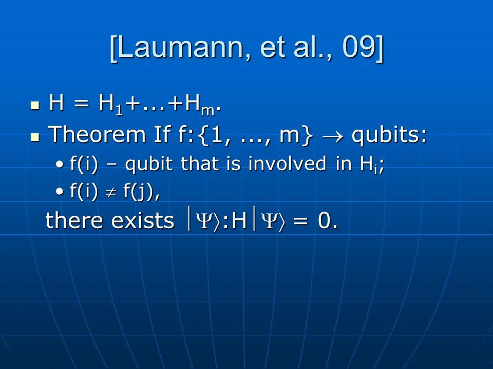 [Laumann, et al., 09] H = H 1 +...+H m. H = H 1 +...+H m. Theorem If f:{1,..., m} qubits: Theorem If f:{1,..., m} qubits: f(i) – qubit that is involve