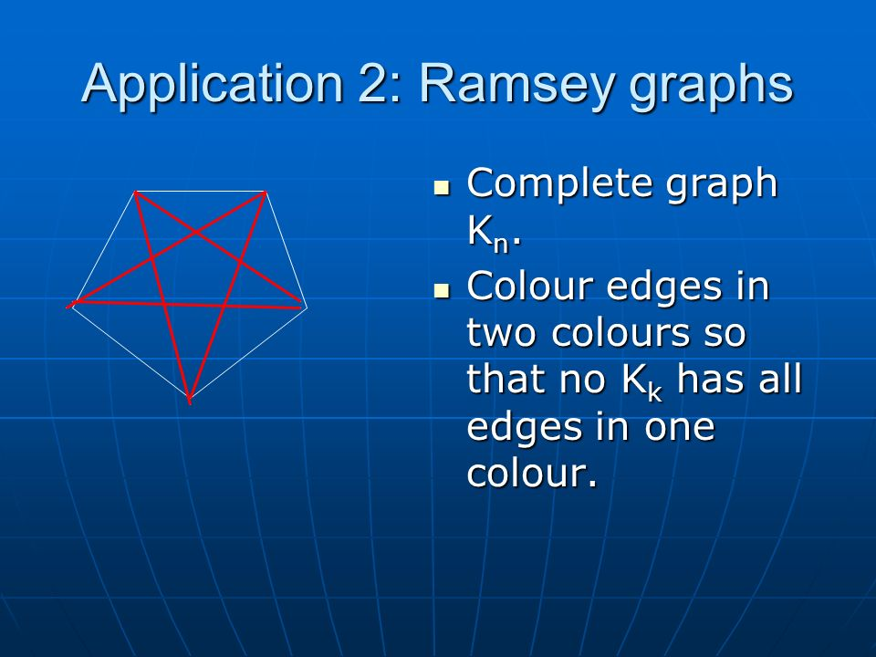 Application 2: Ramsey graphs Complete graph K n. Complete graph K n.