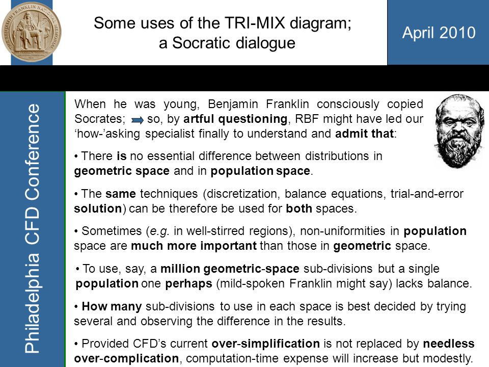 April 2010 Philadelphia CFD Conference Some uses of the TRI-MIX diagram; what CFD does and doesnt do Specialist (puzzled): I never heard of that.