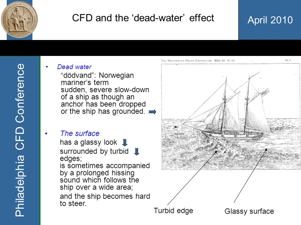 April 2010 Philadelphia CFD Conference CFD and the dead-water effect Dead water dödvand: Norwegian mariners term sudden, severe slow-down of a ship as though an anchor has been dropped or the ship has grounded.