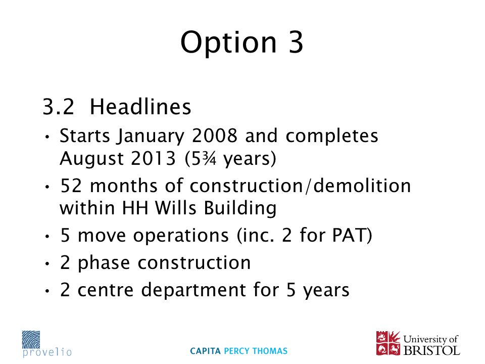 Option 3 3.2 Headlines Starts January 2008 and completes August 2013 (5¾ years) 52 months of construction/demolition within HH Wills Building 5 move operations (inc.