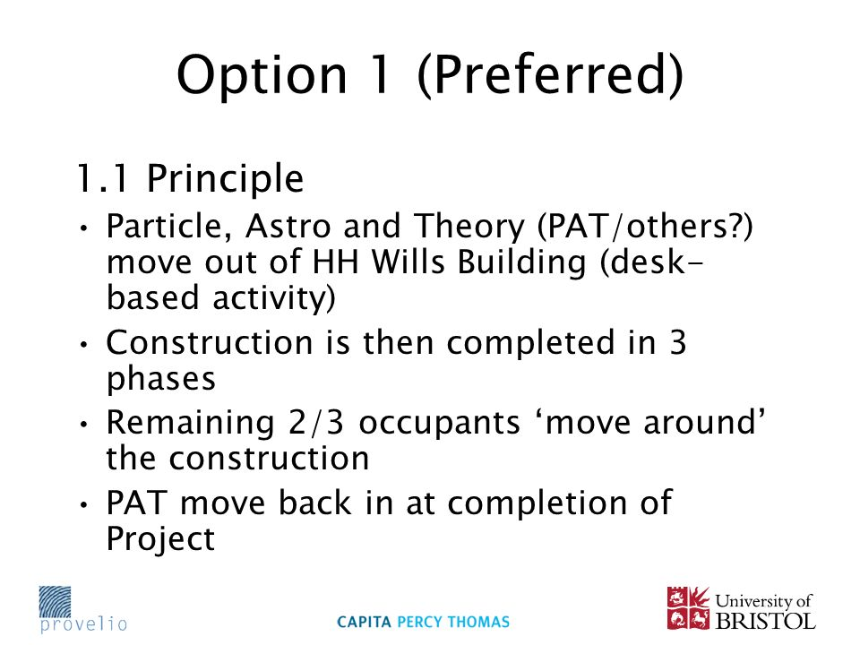 Option 1 (Preferred) 1.1 Principle Particle, Astro and Theory (PAT/others?) move out of HH Wills Building (desk- based activity) Construction is then