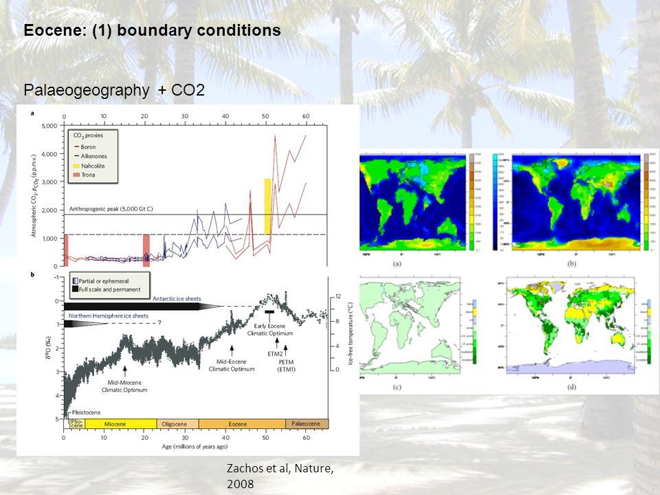 Topography Veg Eocene: (1) boundary conditions Palaeogeography + CO2 Zachos et al, Nature, 2008
