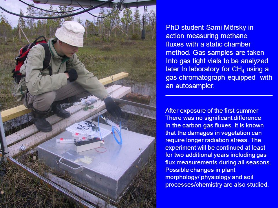 PhD student Sami Mörsky in action measuring methane fluxes with a static chamber method.