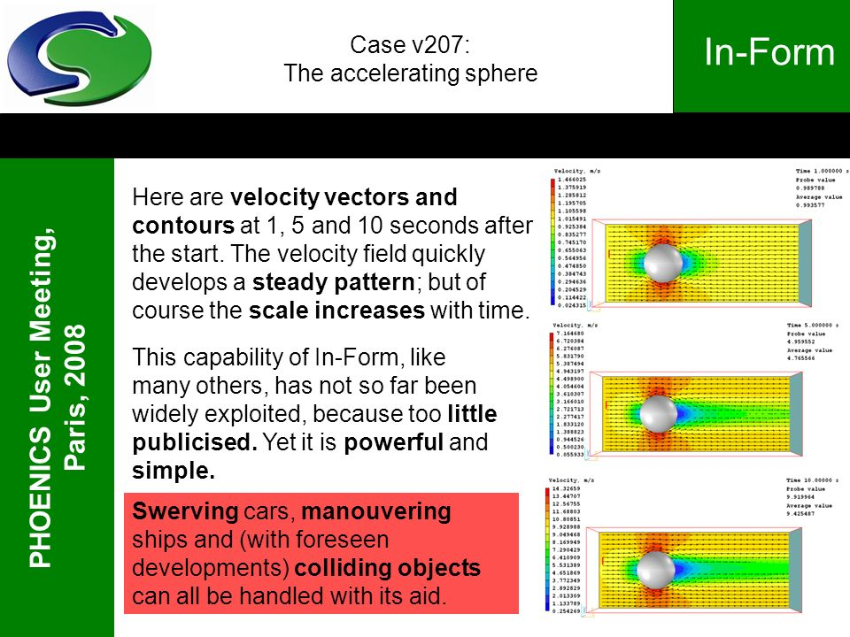 PHOENICS User Meeting, Paris, 2008 In-Form Case v207: The accelerating sphere Here are velocity vectors and contours at 1, 5 and 10 seconds after the start.