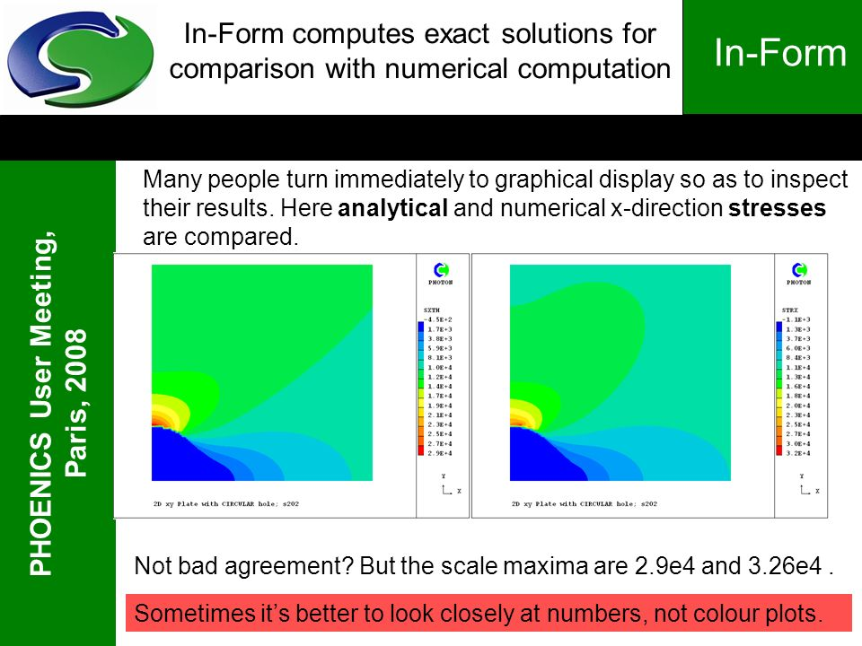 PHOENICS User Meeting, Paris, 2008 In-Form In-Form computes exact solutions for comparison with numerical computation Many people turn immediately to graphical display so as to inspect their results.