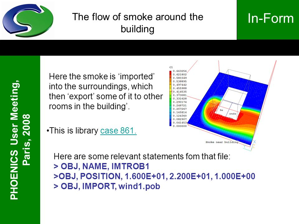 PHOENICS User Meeting, Paris, 2008 In-Form The flow of smoke around the building Here the smoke is imported into the surroundings, which then export s