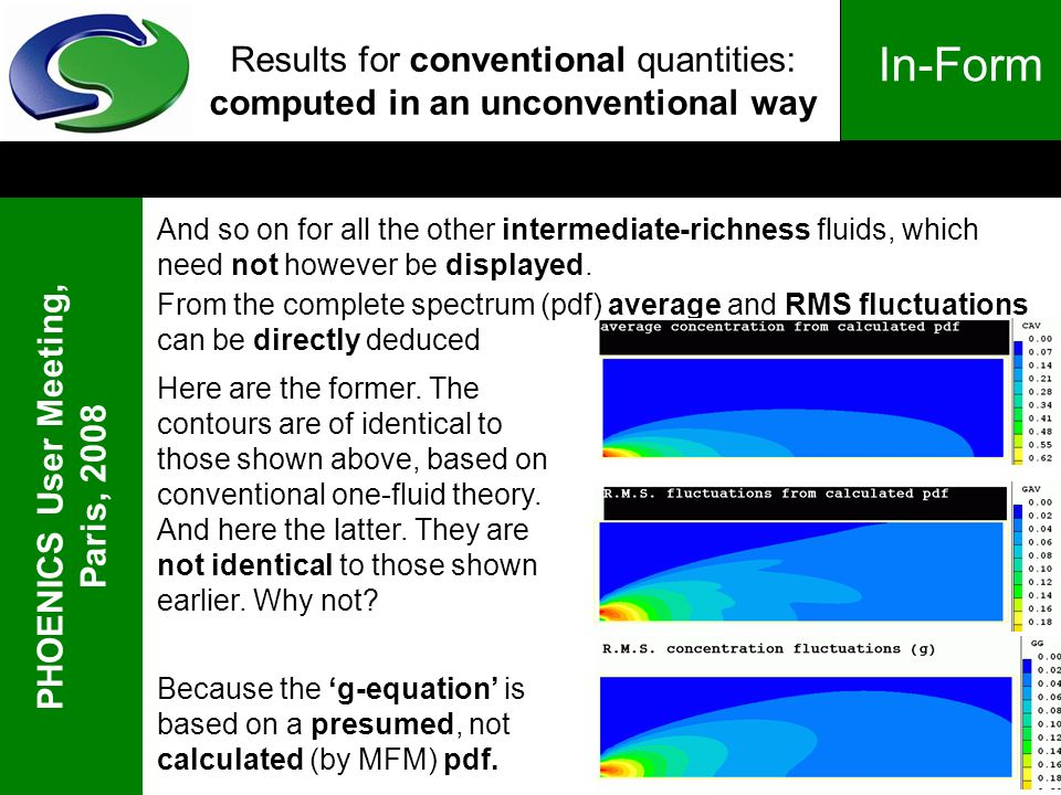 PHOENICS User Meeting, Paris, 2008 In-Form Results for conventional quantities: computed in an unconventional way And so on for all the other intermediate-richness fluids, which need not however be displayed.