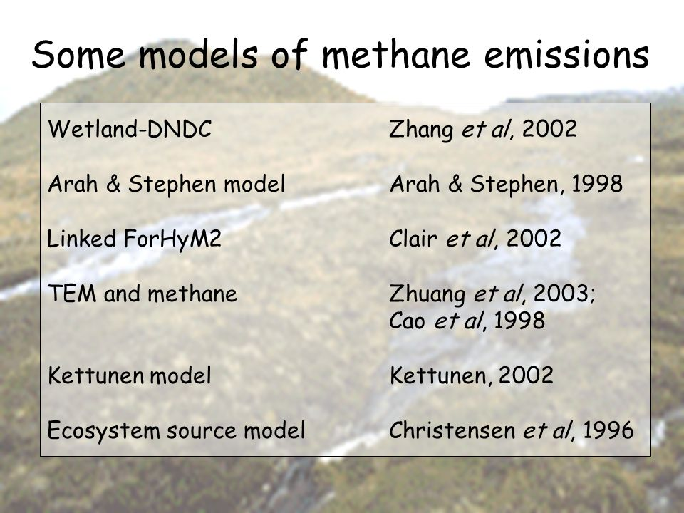 Some models of methane emissions Wetland-DNDCZhang et al, 2002 Arah & Stephen model Arah & Stephen, 1998 Linked ForHyM2Clair et al, 2002 TEM and metha